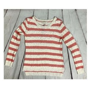 Pink Rose Coral Cream Striped Sweater NWT